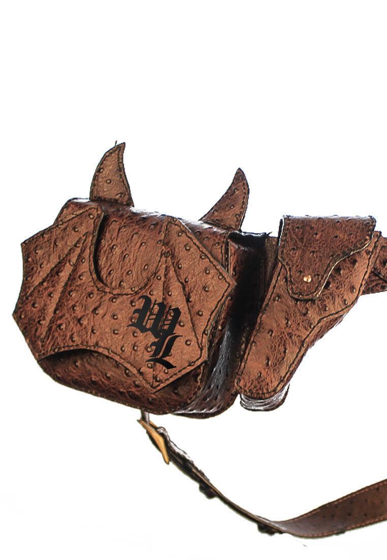 belt waist bag ostrich leather