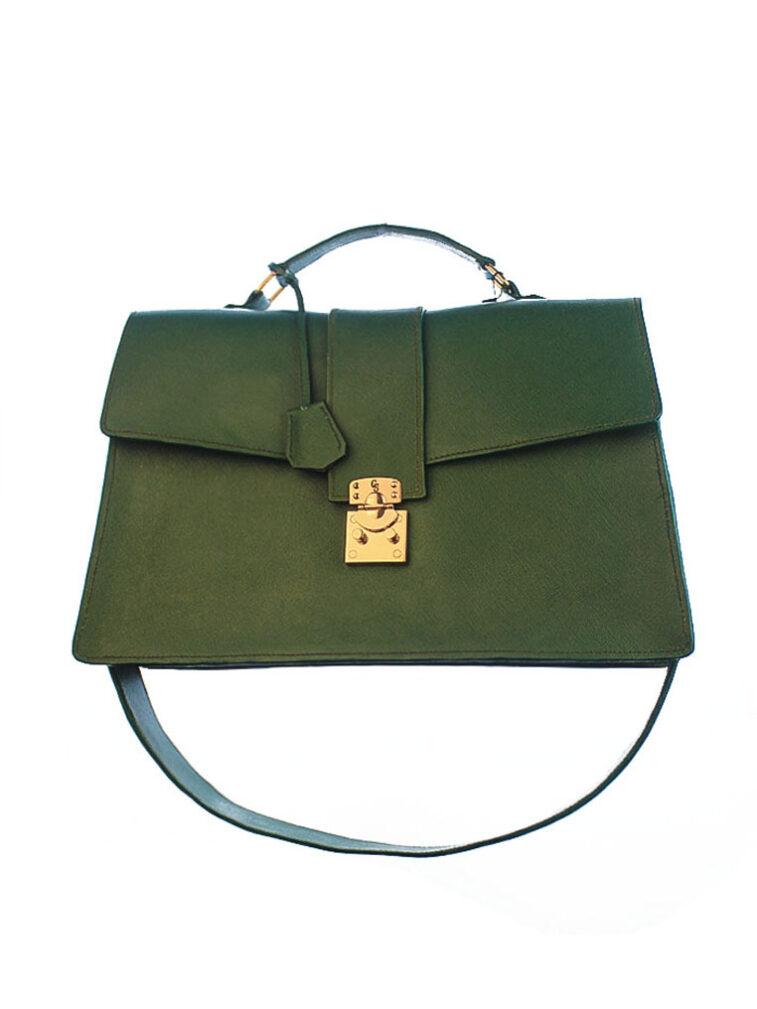 maine bag Leather Saffiano Green Document Case Bag Laptop CSHEON