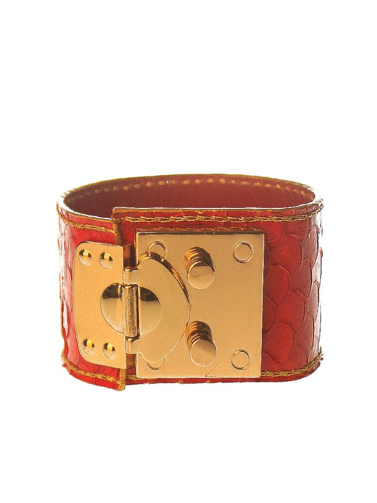 bracelet cuff red snakeskin