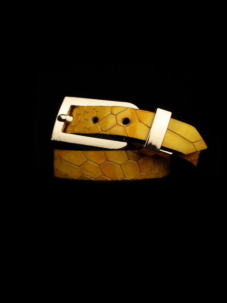 Arden Cuff Leather Yellow Snakeskin – Yellow Pearl Snakeskin