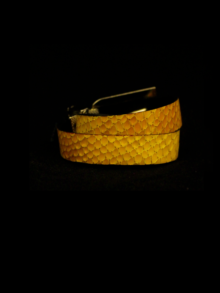 Arden Cuff Leather Yellow Snakeskin