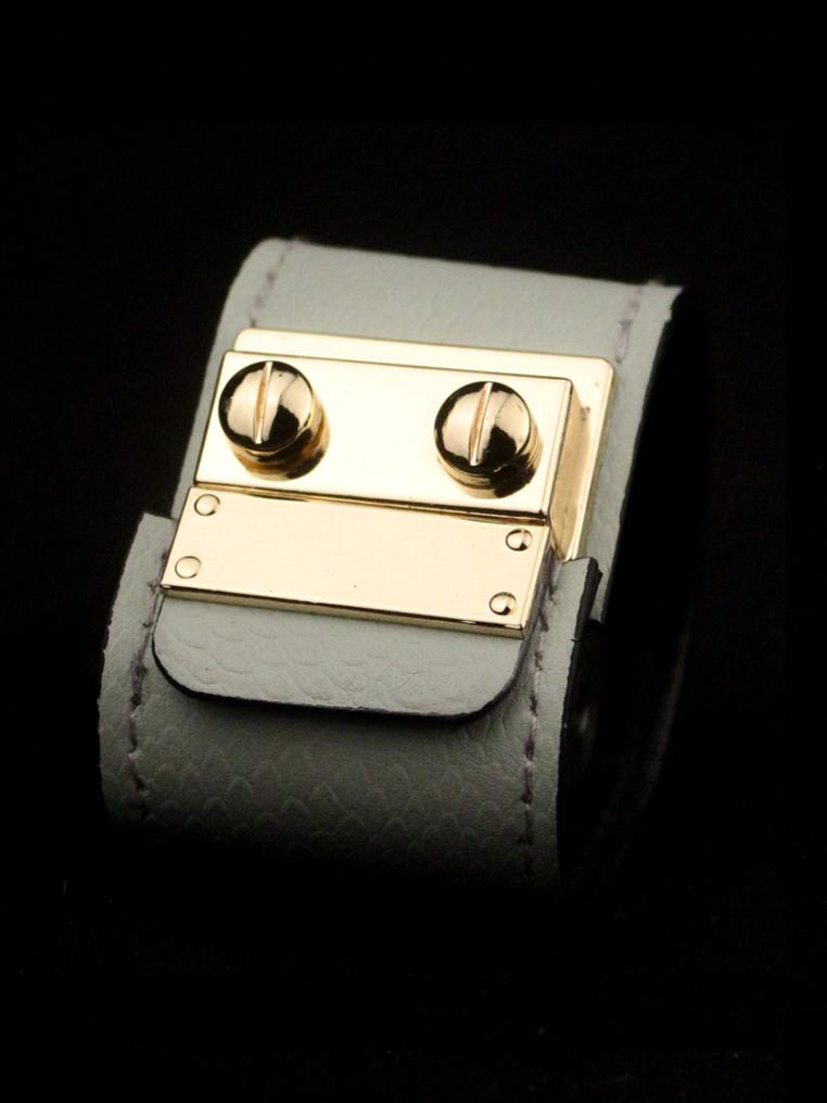 Secret Code Cuff – Snakeskin Pink – Light Grey Matte Snakeskin Printed Leather