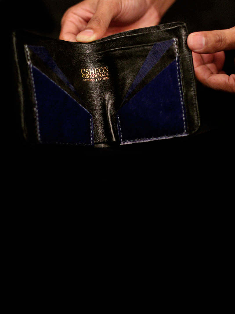 Minimal Wallet Pony Hair Beige Gold