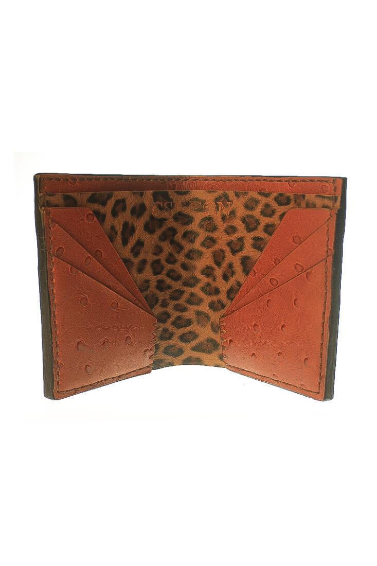 wallet ostrich orange brown 2